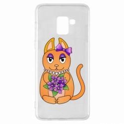 Чехол для Samsung A8+ 2018 Girl cat with flowers
