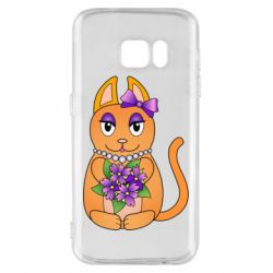 Чехол для Samsung S7 Girl cat with flowers