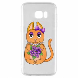 Чехол для Samsung S7 EDGE Girl cat with flowers