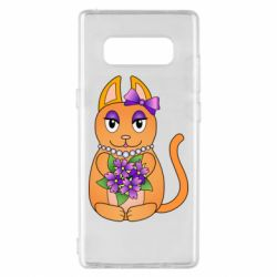 Чехол для Samsung Note 8 Girl cat with flowers