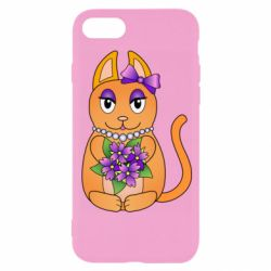 Чехол для iPhone 8 Girl cat with flowers