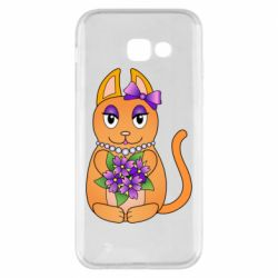 Чехол для Samsung A5 2017 Girl cat with flowers