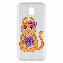 Чехол для Samsung J5 2017 Girl cat with flowers