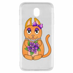 Чехол для Samsung J7 2017 Girl cat with flowers
