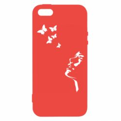 Чехол для iPhone5/5S/SE Girl face and butterfly
