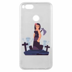 Чехол для Xiaomi Mi A1 Girl in a cemetery with skeletons