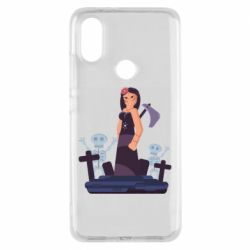 Чехол для Xiaomi Mi A2 Girl in a cemetery with skeletons
