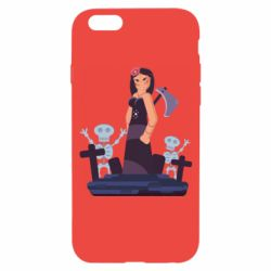 Чехол для iPhone 6/6S Girl in a cemetery with skeletons