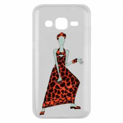 Чехол для Samsung J2 2015 Girl in a dress without a face