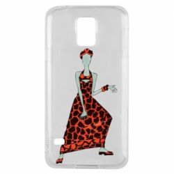 Чехол для Samsung S5 Girl in a dress without a face