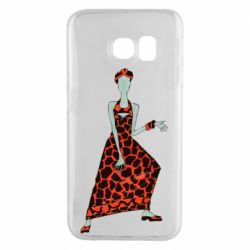 Чехол для Samsung S6 EDGE Girl in a dress without a face