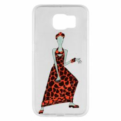 Чехол для Samsung S6 Girl in a dress without a face