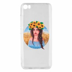 Чехол для Xiaomi Mi5/Mi5 Pro Girl in a wreath of sunflowers