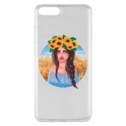 Чехол для Xiaomi Mi Note 3 Girl in a wreath of sunflowers