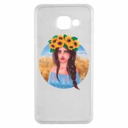 Чехол для Samsung A3 2016 Girl in a wreath of sunflowers