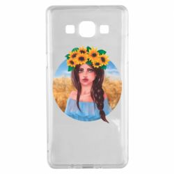 Чехол для Samsung A5 2015 Girl in a wreath of sunflowers
