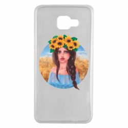 Чехол для Samsung A7 2016 Girl in a wreath of sunflowers