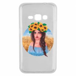 Чехол для Samsung J1 2016 Girl in a wreath of sunflowers