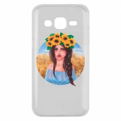 Чехол для Samsung J2 2015 Girl in a wreath of sunflowers