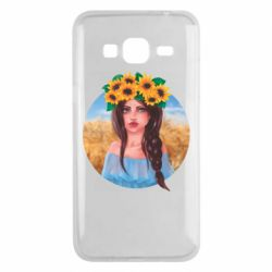 Чехол для Samsung J3 2016 Girl in a wreath of sunflowers