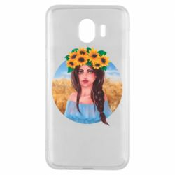 Чехол для Samsung J4 Girl in a wreath of sunflowers