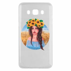 Чехол для Samsung J5 2016 Girl in a wreath of sunflowers