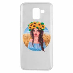 Чехол для Samsung J6 Girl in a wreath of sunflowers