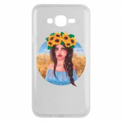 Чехол для Samsung J7 2015 Girl in a wreath of sunflowers
