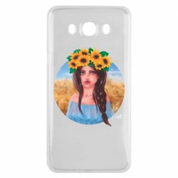 Чехол для Samsung J7 2016 Girl in a wreath of sunflowers