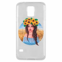 Чехол для Samsung S5 Girl in a wreath of sunflowers