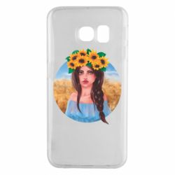 Чехол для Samsung S6 EDGE Girl in a wreath of sunflowers