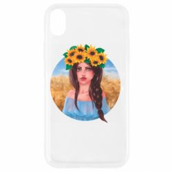 Чехол для iPhone XR Girl in a wreath of sunflowers