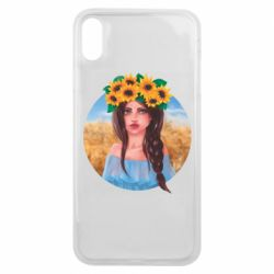 Чехол для iPhone Xs Max Girl in a wreath of sunflowers