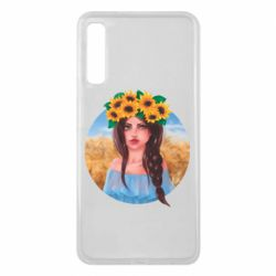Чехол для Samsung A7 2018 Girl in a wreath of sunflowers