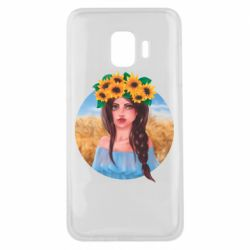 Чехол для Samsung J2 Core Girl in a wreath of sunflowers