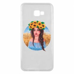 Чехол для Samsung J4 Plus 2018 Girl in a wreath of sunflowers