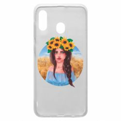 Чехол для Samsung A20 Girl in a wreath of sunflowers