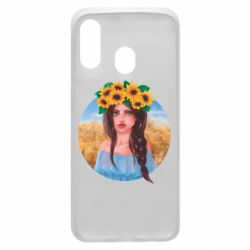 Чехол для Samsung A40 Girl in a wreath of sunflowers