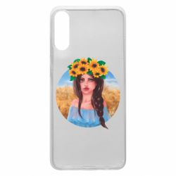 Чехол для Samsung A70 Girl in a wreath of sunflowers