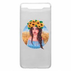 Чехол для Samsung A80 Girl in a wreath of sunflowers