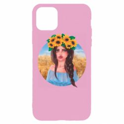 Чехол для iPhone 11 Pro Max Girl in a wreath of sunflowers