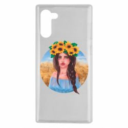 Чехол для Samsung Note 10 Girl in a wreath of sunflowers