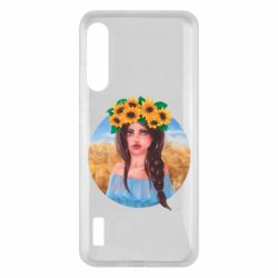 Чохол для Xiaomi Mi A3 Girl in a wreath of sunflowers