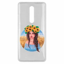 Чехол для Xiaomi Mi9T Girl in a wreath of sunflowers