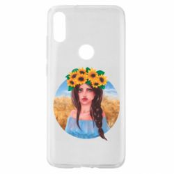 Чехол для Xiaomi Mi Play Girl in a wreath of sunflowers