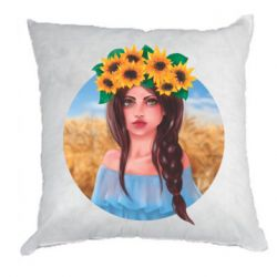 Подушка Girl in a wreath of sunflowers