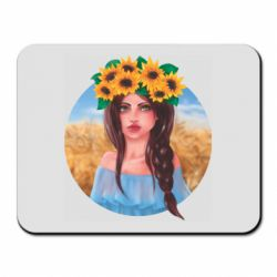 Коврик для мыши Girl in a wreath of sunflowers