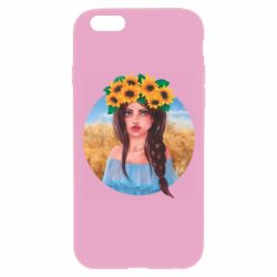 Чехол для iPhone 6 Plus/6S Plus Girl in a wreath of sunflowers