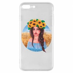 Чехол для iPhone 7 Plus Girl in a wreath of sunflowers