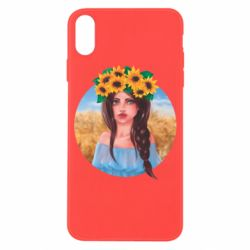 Чехол для iPhone X/Xs Girl in a wreath of sunflowers